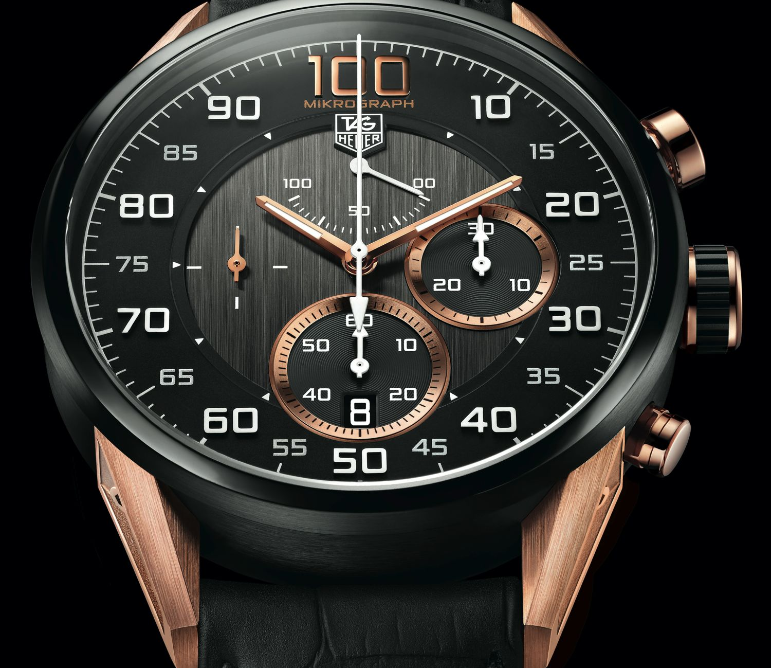 calibre chronograph in heuer tag carrera black watches dial
